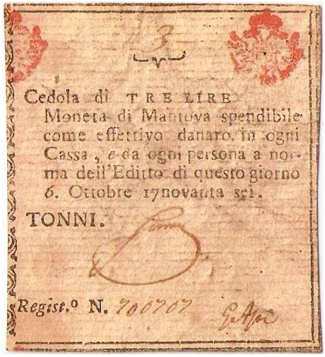 Cedola da 3 lire emessa nell'ottobre 1796 durante l'assedio di Mantova.