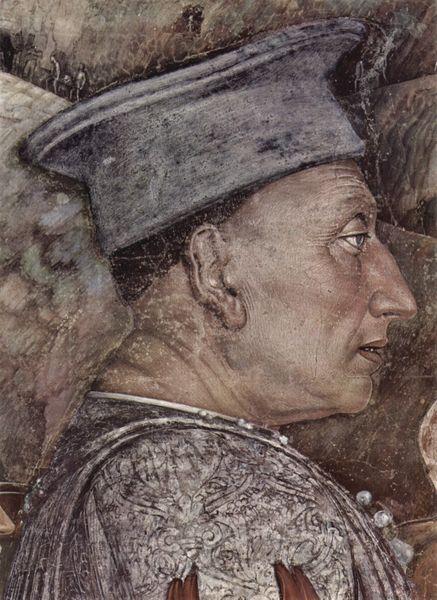 Ritratto di Ludovico II Gonzaga. Mantova, Palazzo Ducale, particolare della Camera degli Sposi di Andrea Mantegna.