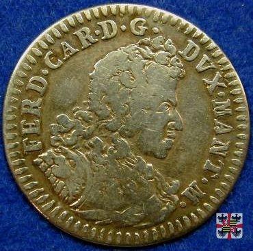 2 lire da 80 sesini col trofeo d'armi 1703 (Mantova)
