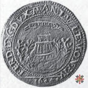 Mezzo tallero (da 2 giustine) con Santa Barbara 1624 (Mantova)
