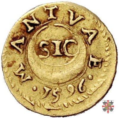 Ottavo di scudo d'oro con l'aquila e motto SIC 1596 (Mantova)