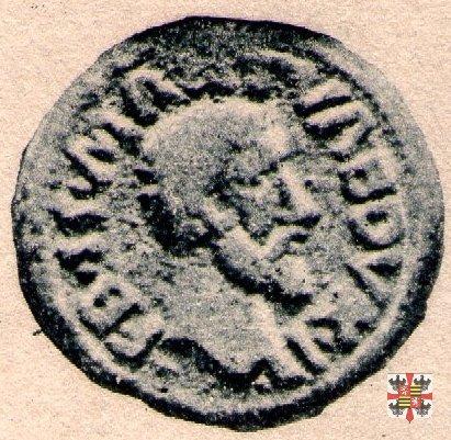 Quattrino con la scritta OLYMPOS e ritratto a d.  (Mantova)