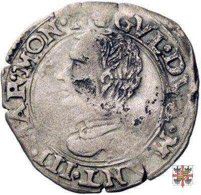 Soldo con corso d'acqua e busto a s. 1567 (Casale)