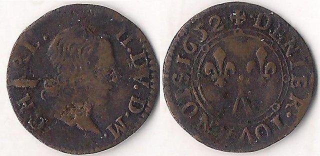 Denier tournois con i gigli 1652 (Charleville)